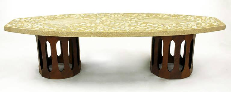 Harvey Probber Terrazzo & Mahogany Double Dodecagon Coffee Table 2