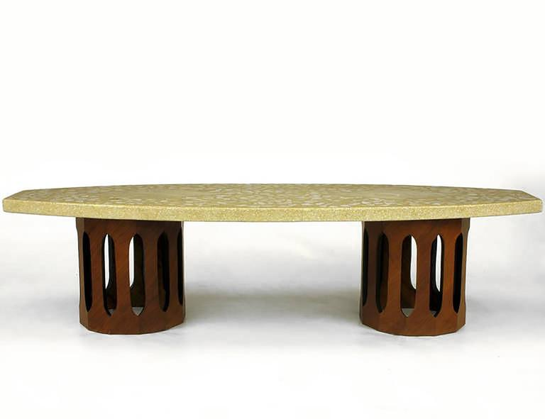 Harvey Probber Terrazzo & Mahogany Double Dodecagon Coffee Table 3