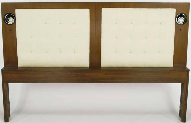 Upholstered King Headboard in Walnut with Block Front Nightstands 3