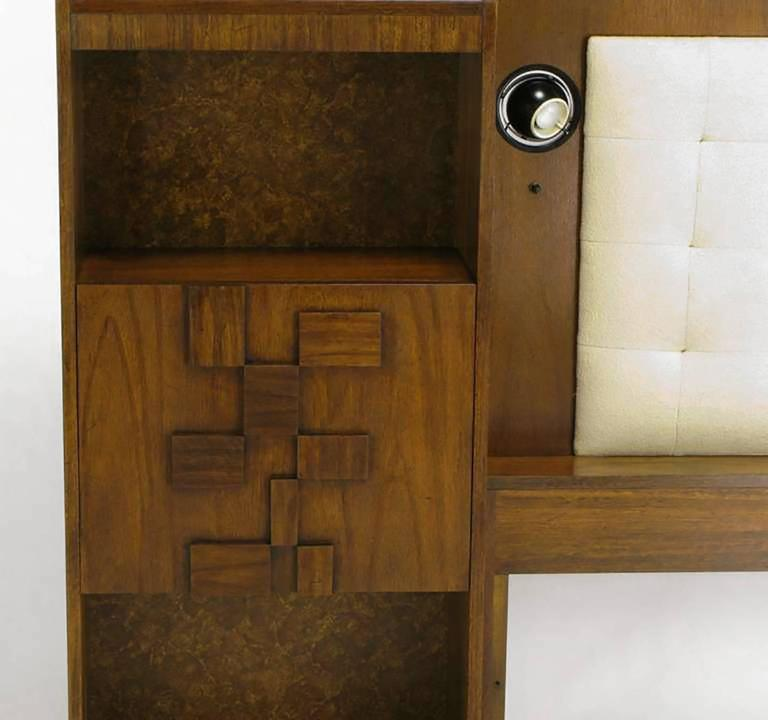 Upholstered King Headboard in Walnut with Block Front Nightstands 4