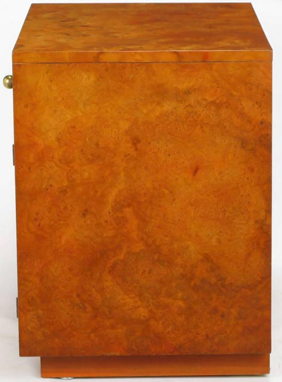 Rare Mastercraft Tangerine Burl Amboyna Nightstands with Acid Etch Detail 5