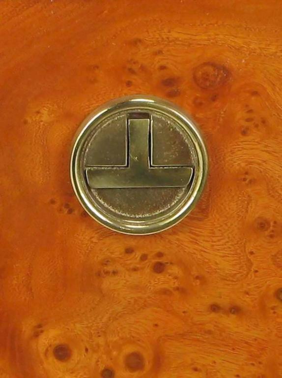 Rare Mastercraft Tangerine Burl Amboyna Nightstands with Acid Etch Detail 6