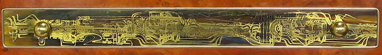 Rare Mastercraft Tangerine Burl Amboyna Nightstands with Acid Etch Detail 7