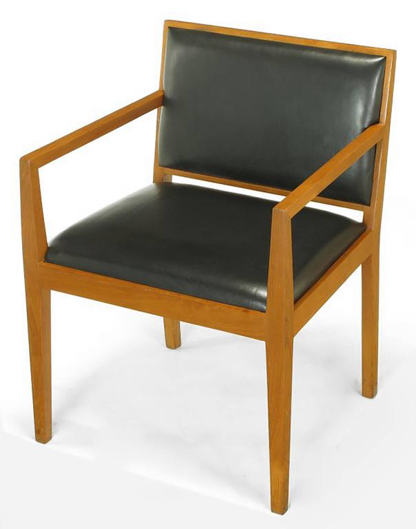 Mid-Century Modern Four Interior Crafts Ash and Leather Armchairs For Sale