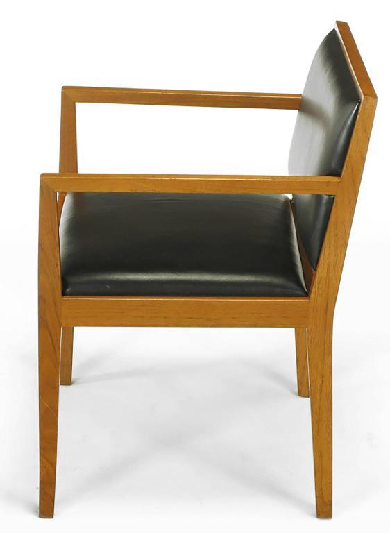 American Four Interior Crafts Ash and Leather Armchairs For Sale