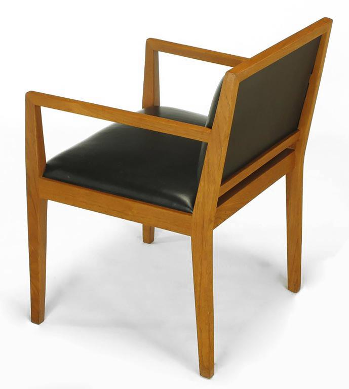 Four Interior Crafts Ash and Leather Armchairs In Good Condition For Sale In Chicago, IL