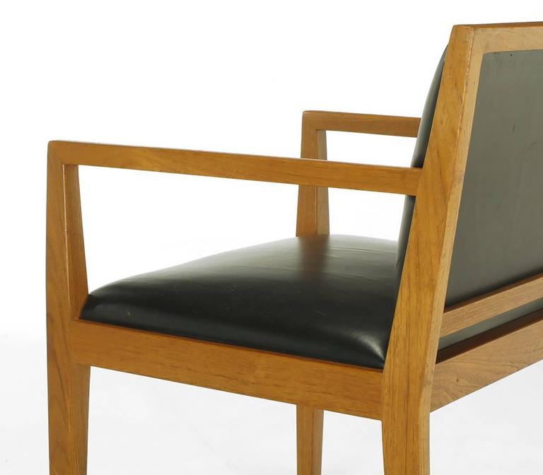 Four Interior Crafts Ash and Leather Armchairs For Sale 1