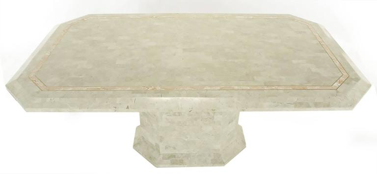 Art Deco Robert Marcius Tessellated Fossil Stone and Rouge Marble Pedestal Dining Table For Sale