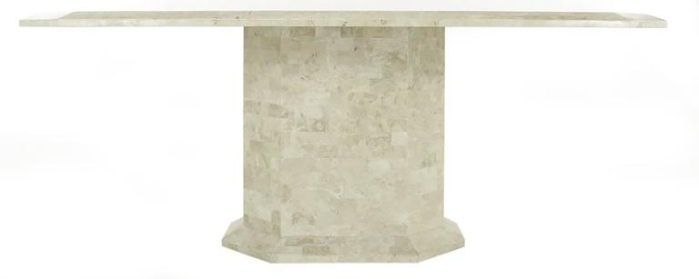 Philippine Robert Marcius Tessellated Fossil Stone and Rouge Marble Pedestal Dining Table For Sale