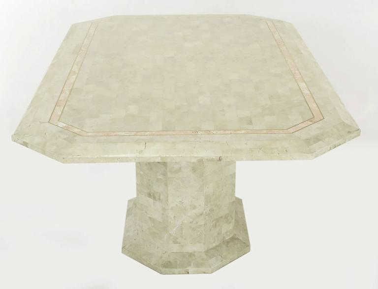 Robert Marcius Tessellated Fossil Stone and Rouge Marble Pedestal Dining Table In Good Condition For Sale In Chicago, IL