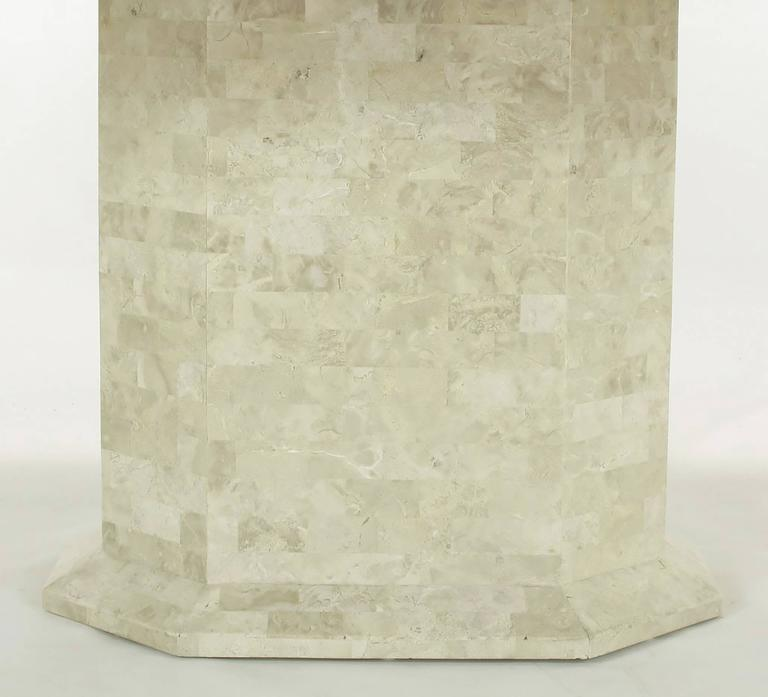 Robert Marcius Tessellated Fossil Stone and Rouge Marble Pedestal Dining Table 6