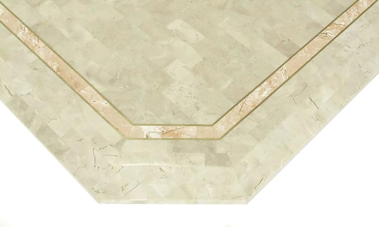 Robert Marcius Tessellated Fossil Stone and Rouge Marble Pedestal Dining Table 7
