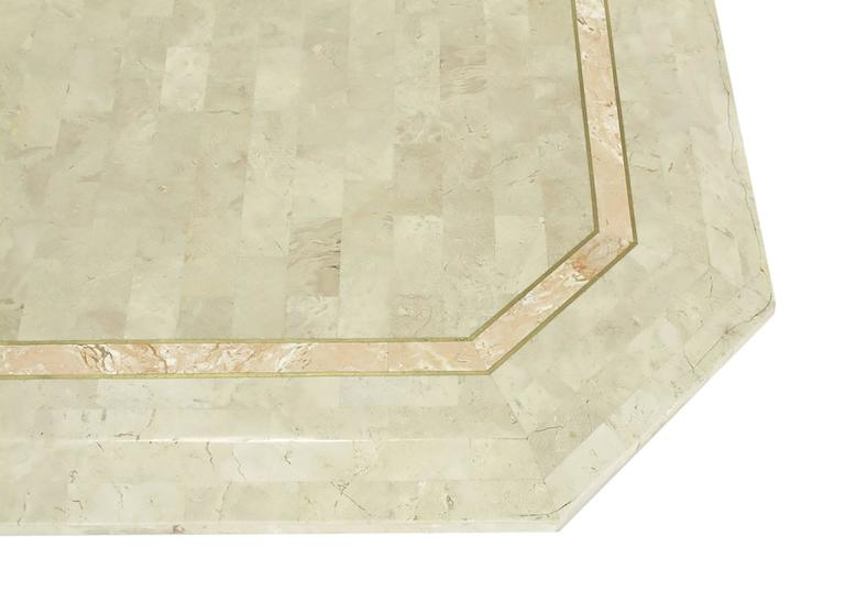 Robert Marcius Tessellated Fossil Stone and Rouge Marble Pedestal Dining Table 8