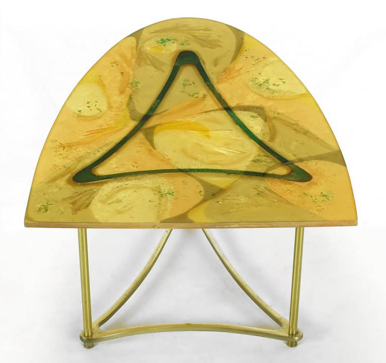 Mid-20th Century Demi-Ellipse Abstract Cast Resin and Brass Side Table For Sale