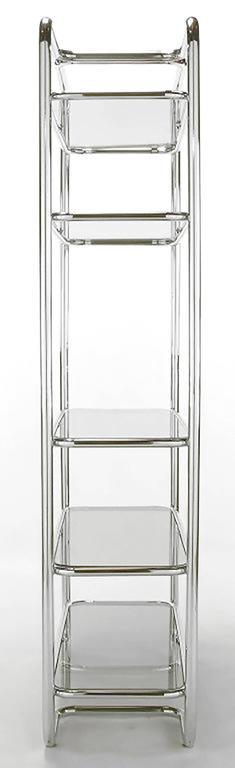 Mid-Century Modern Tubular Chrome and Smoked Glass Five Shelf Etagere For Sale