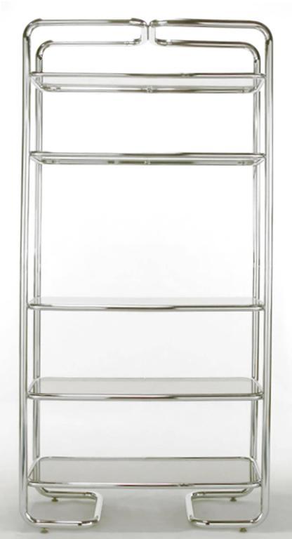 American Tubular Chrome and Smoked Glass Five Shelf Etagere For Sale