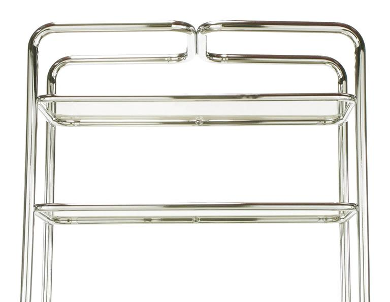 Tubular Chrome and Smoked Glass Five Shelf Etagere In Good Condition For Sale In Chicago, IL