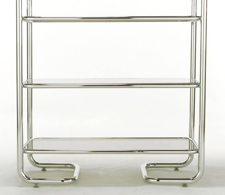 Late 20th Century Tubular Chrome and Smoked Glass Five Shelf Etagere For Sale