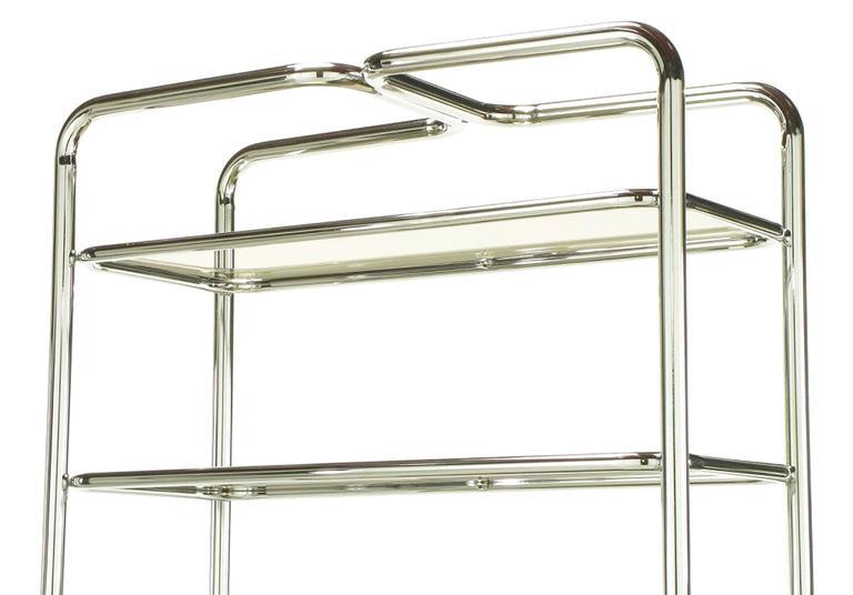 Steel Tubular Chrome and Smoked Glass Five Shelf Etagere For Sale
