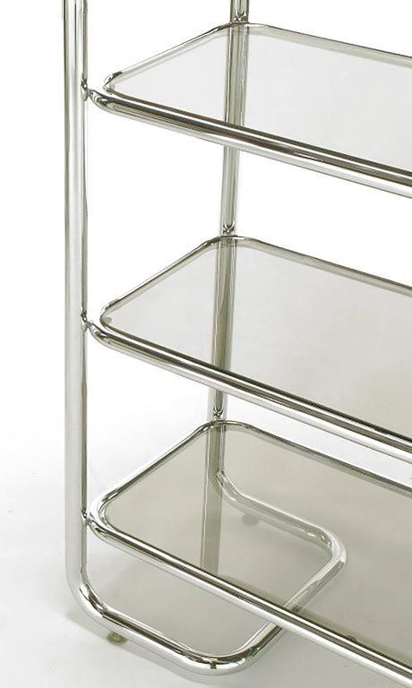 Tubular Chrome and Smoked Glass Five Shelf Etagere For Sale 2