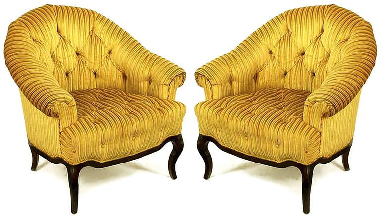 Regency Revival Elegant Pair of Interior Crafts Button-Tufted Barrel-Back Lounge Chairs For Sale