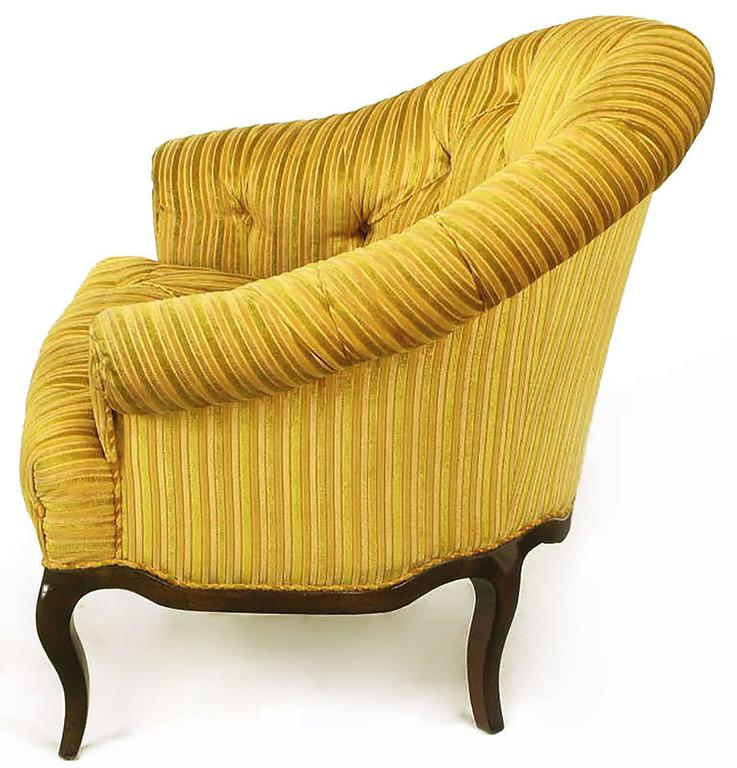 American Elegant Pair of Interior Crafts Button-Tufted Barrel-Back Lounge Chairs For Sale