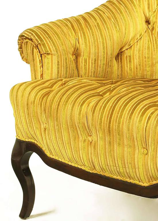 Velvet Elegant Pair of Interior Crafts Button-Tufted Barrel-Back Lounge Chairs For Sale