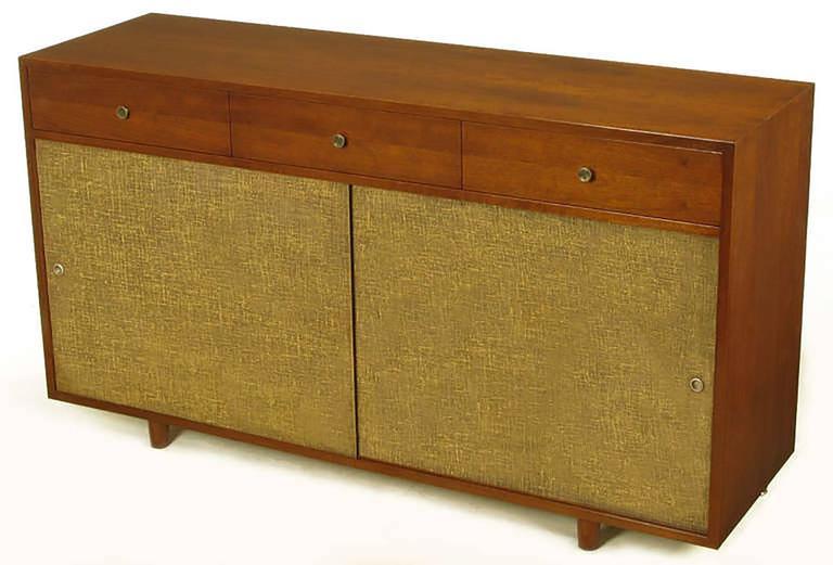Custom Walnut and Lacquered Linen Sliding Door Nine-Drawer Cabinet 2