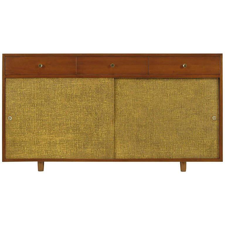 Custom Walnut and Lacquered Linen Sliding Door Nine-Drawer Cabinet 3