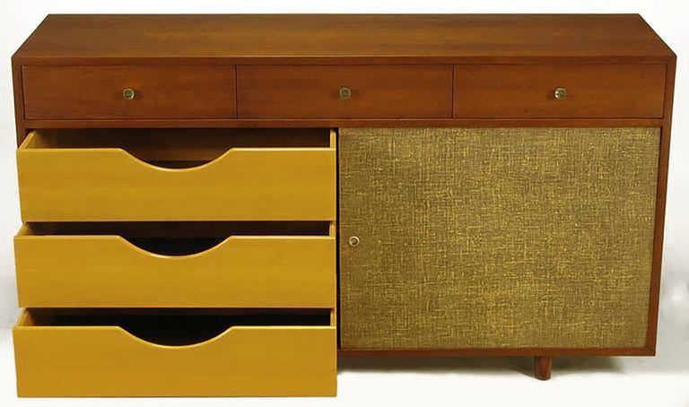 Custom Walnut and Lacquered Linen Sliding Door Nine-Drawer Cabinet 4