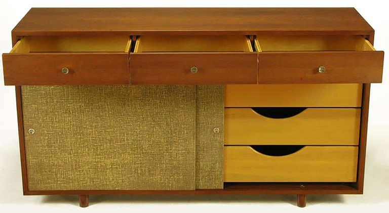 Custom Walnut and Lacquered Linen Sliding Door Nine-Drawer Cabinet 5