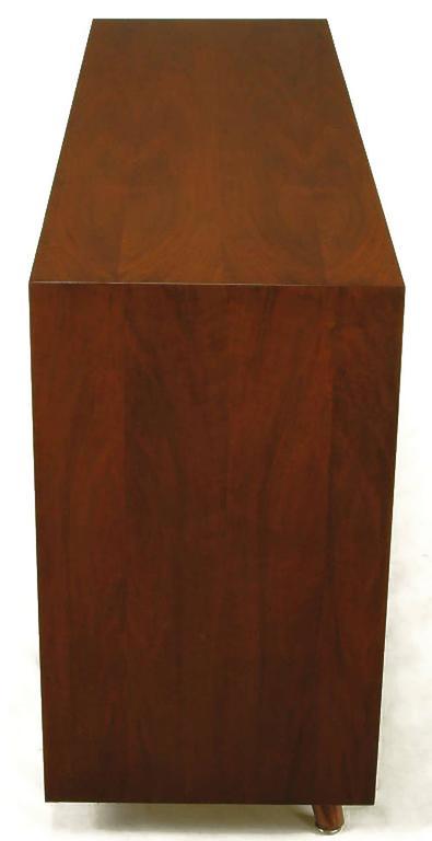 Custom Walnut and Lacquered Linen Sliding Door Nine-Drawer Cabinet 6