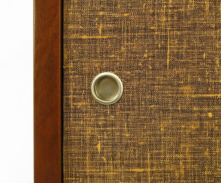 Custom Walnut and Lacquered Linen Sliding Door Nine-Drawer Cabinet 7