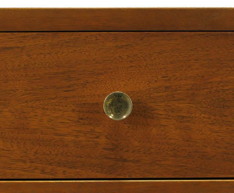 Custom Walnut and Lacquered Linen Sliding Door Nine-Drawer Cabinet 8