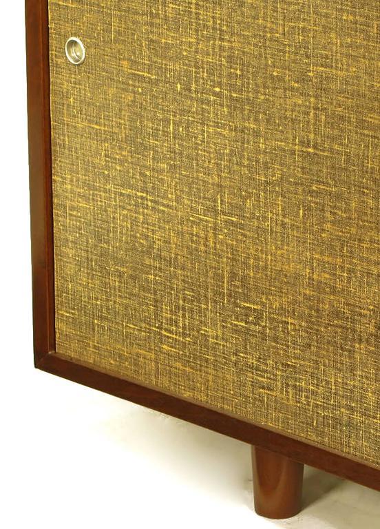 Custom Walnut and Lacquered Linen Sliding Door Nine-Drawer Cabinet 10