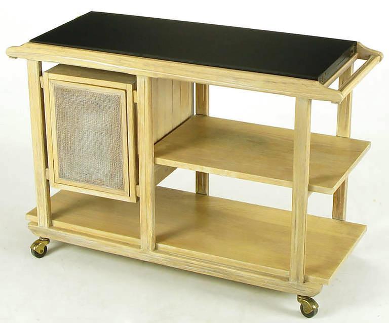 Bleached & Glazed Three-Tier Flip Top Bar Cart 2
