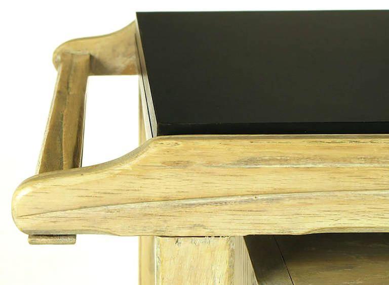 Bleached & Glazed Three-Tier Flip Top Bar Cart 8
