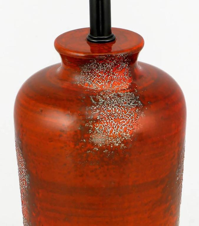 Mid-Century Modern Pair of Carnelian, Red Lava Glaze Pottery Table Lamps For Sale
