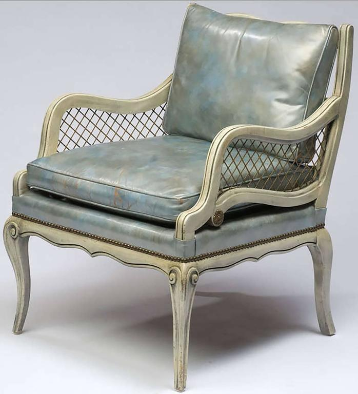 Marshall Fields Furniture: Pair Of 1940s Carved And Lacquered Lounge Chairs With Blue