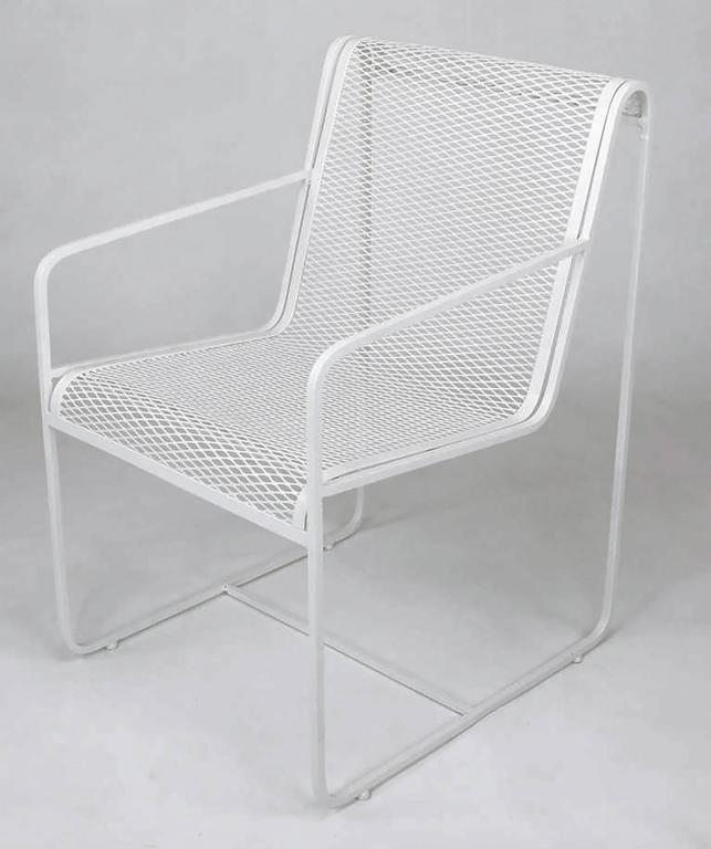 Mid-Century Modern Rare Set of Four Maurizio Tempestini White Lacquer Iron Frame and Mesh Chairs For Sale