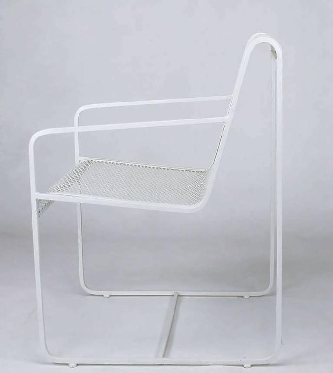 American Rare Set of Four Maurizio Tempestini White Lacquer Iron Frame and Mesh Chairs For Sale