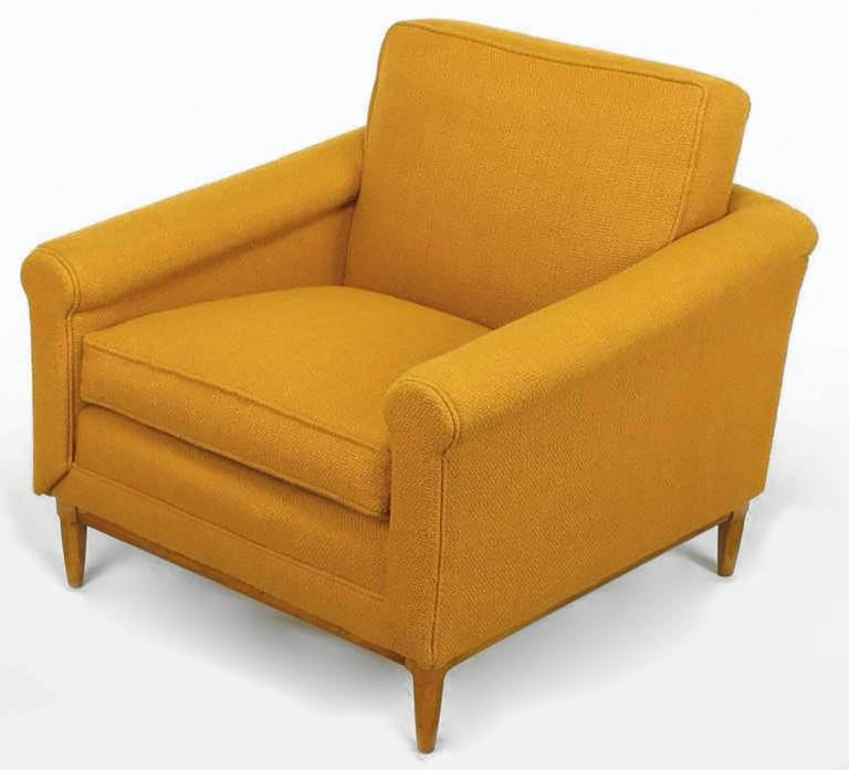 American Rolled Arm Lounge Chair & Ottoman in Amber Wool For Sale