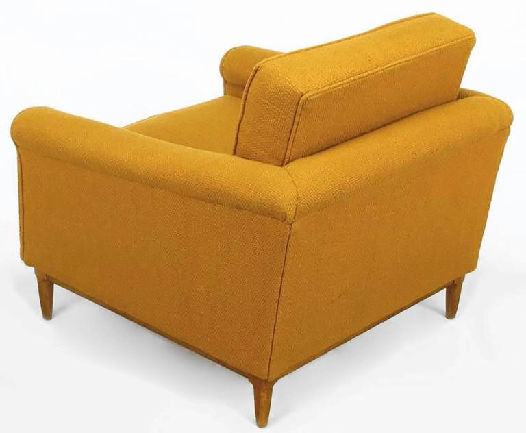 Mid-20th Century Rolled Arm Lounge Chair & Ottoman in Amber Wool For Sale