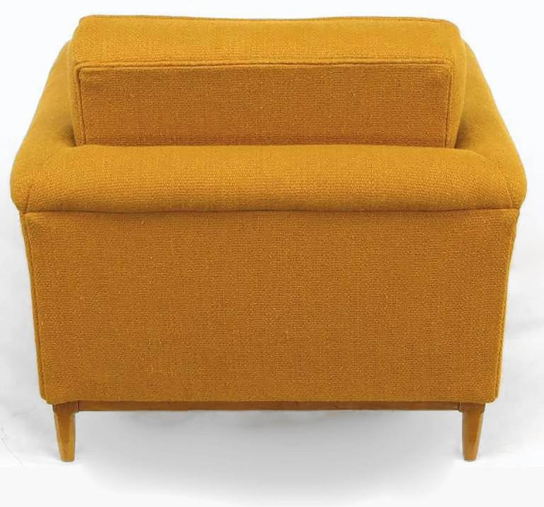 Rolled Arm Lounge Chair & Ottoman in Amber Wool For Sale 1