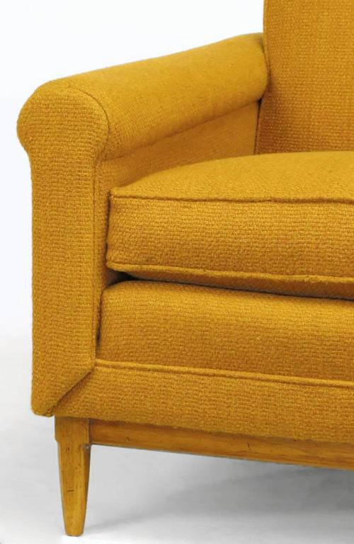 Rolled Arm Lounge Chair & Ottoman in Amber Wool For Sale 2