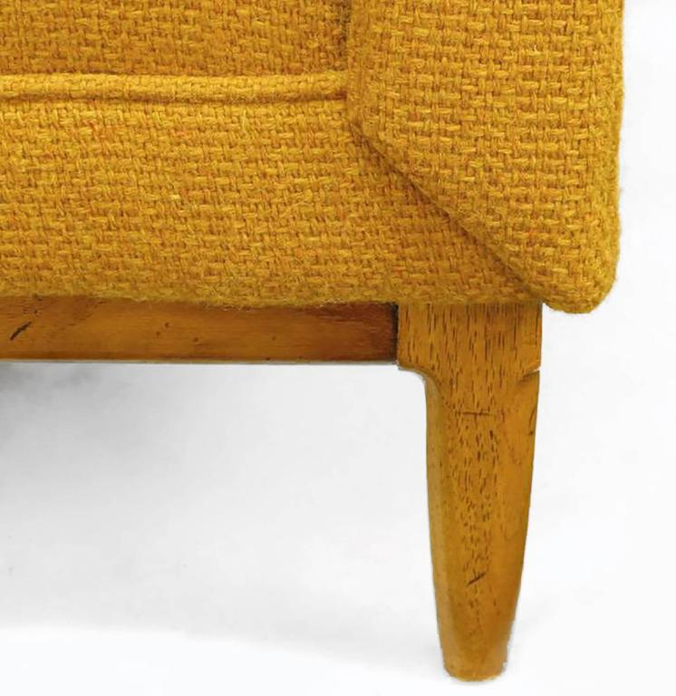 Rolled Arm Lounge Chair & Ottoman in Amber Wool For Sale 3