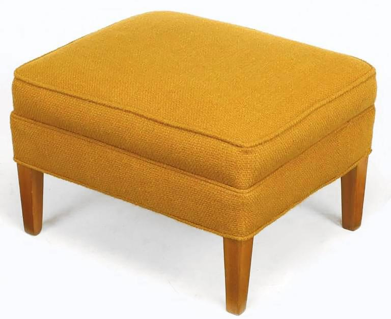 Rolled Arm Lounge Chair & Ottoman in Amber Wool For Sale 4