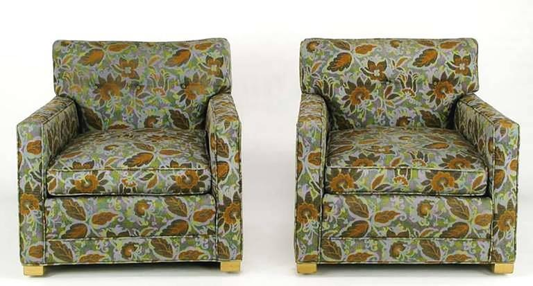 Pair of 1940s Sled-Base Club Chairs in Vivid Floral Upholstery 2