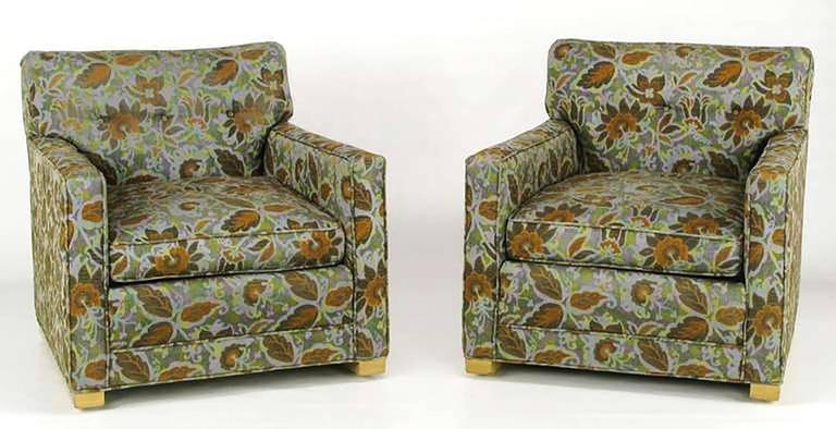 Pair of 1940s Sled-Base Club Chairs in Vivid Floral Upholstery 3