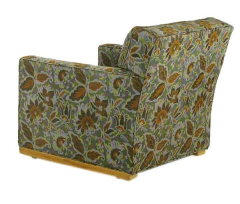 Pair of 1940s Sled-Base Club Chairs in Vivid Floral Upholstery 4